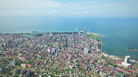 Aerial view of Batumi and Black sea stock video footage