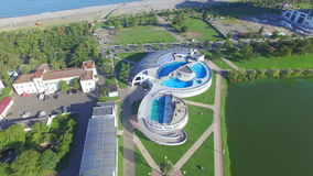 Aerial view of Batumi dolphinarium stock footage