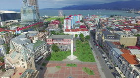 Aerial view of Batumi from flying drone stock video footage