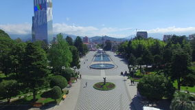 Aerial view of Batumi fountains stock video footage