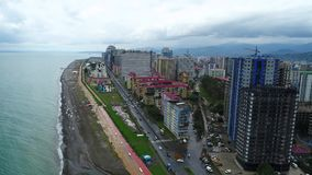 Aerial view of Batumi at rainy day 4k shot stock video