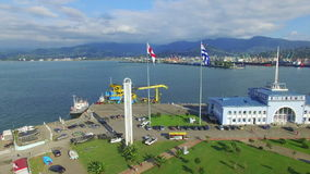 Aerial view of Batumi sea port stock video
