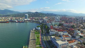 Aerial view of Batumi sea port and seafront stock video