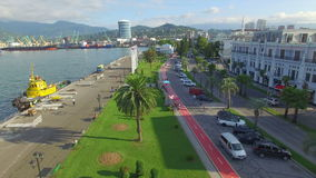Aerial view of Batumi sea port and seafront stock video footage