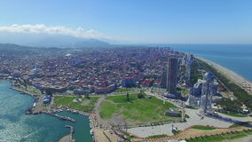 Aerial view of Batumi seafront stock video footage