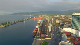 Aerial view of Batumi seaport stock footage