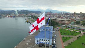 Aerial view of Batumi seaport stock video footage