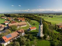 Aerial view of Bavarian village close to the alp mountains stock image