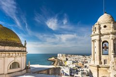 Aerial view of the Bay of Cadiz stock images