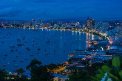 Aerial view of bay of city of Pattaya, Thailand in twilight Stock Photo