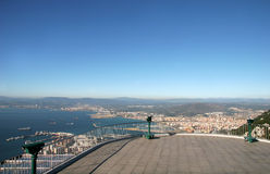 Aerial View - Bay of Gibraltar. On The Top of the World, Gibraltar royalty free stock photography