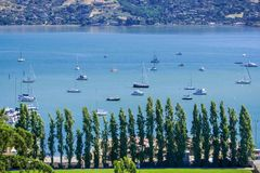 Aerial view of the bay from the hills of Sausalito, San Francisco bay area, California Royalty Free Stock Images