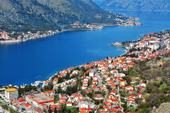 Aerial view of the bay of Kotor Stock Photos