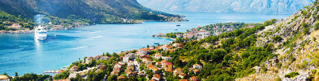Aerial view of Bay of Kotor, Montenegro. Giant cruise liner Stock Photo