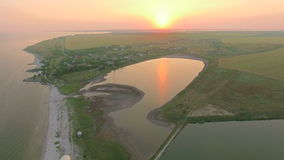 Aerial view of bay near sea and lake stock footage