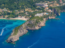 Aerial view of The bay of Paleokastritsa in Corfu Stock Photos