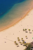 Aerial view on beach. Santa Cruz, Spain Royalty Free Stock Image
