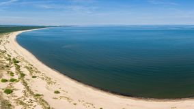 Aerial view of beach by the blue Baltic sea, near Vistula river mouth stock image