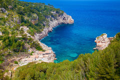 Aerial view of the beach Cala de Deia. Mallorca, Spain Royalty Free Stock Image