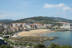 Aerial view of beach in Castro Urdiales, Cantabria, Spain. Stock Images