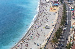 Aerial view of beach in City of Nice, Cote d'Azure, France Royalty Free Stock Photos