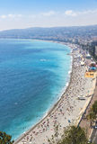 Aerial view of beach in City of Nice, Cote d'Azure, France Royalty Free Stock Photography