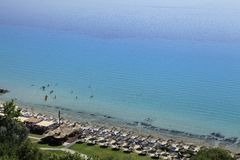 Aerial view of a beach club. At Halkidiki, Greece Royalty Free Stock Image