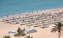 Aerial view of beach and holidaymakers on vacation Stock Photography