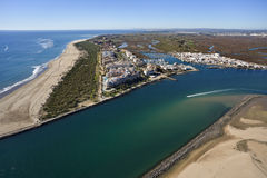 Aerial view of the beach of Isla Canela. In Ayamonte, Huelva, Andalusia, Spain Stock Photography