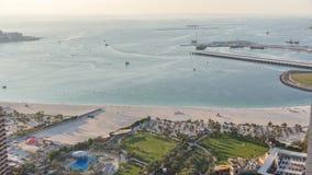 Aerial view of modern skyscrapers and beach at Jumeirah Beach Residence JBR timelapse in Dubai, UAE stock footage