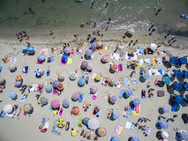 Aerial view of beach in Katerini, Greece. Aerial view of the beach of Katerini in Greece. colorful umbrellas and people who swims. Aerial shot Royalty Free Stock Images