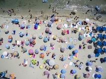 Aerial view of beach in Katerini, Greece. KATERINI, GREECE, JULY 5 2015: Aerial view of the beach of Katerini in Greece. colorful umbrellas and people who swims Royalty Free Stock Photo