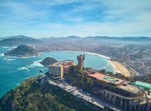 Aerial view of the beach of La Concha de San Sebastián from Mount Igueldo, Donostia. Spain royalty free stock photography