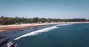 Aerial view of beach in Mandrem Goa, India. stock footage