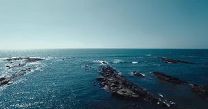 Aerial view of beach in Mandrem Goa, India. stock video footage