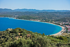 Aerial view of a beach and mediterranean coast in Sithonia Stock Photo