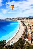 Aerial view of beach in Nice Stock Photo
