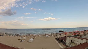 Aerial view of a beach. Panoramic aerial view of a beach stock footage