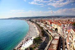 Aerial view of the beach and promenade of Nice a France. Aerial view of the beach and promenade of Nice on the French Riviera stock images