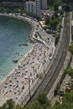 Aerial view of beach and railway Stock Photos
