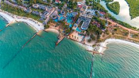 Aerial view of the beach and resort royalty free stock photo