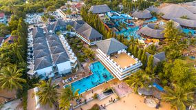 Aerial view of the beach and resort stock image