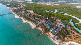 Aerial view of the beach and resort stock photos