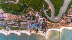 Aerial view of the beach and resort stock photo