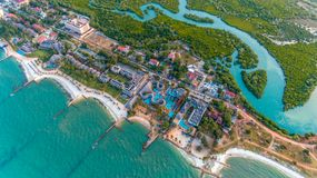 Aerial view of the beach and resort royalty free stock image