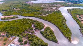 Aerial view of the beach and resort Royalty Free Stock Images