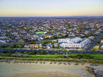Aerial view of beach road and suburban houses in Melbourne. Royalty Free Stock Photos