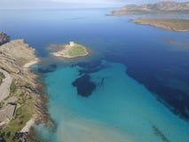Aerial view, the beach in Sardinia, crystal clear water, Italy. Aerial view, the beach in Sardinia, crystal clear water, Stintino, La Pelosa, Italy Royalty Free Stock Photos