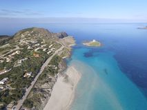 Aerial view, the beach in Sardinia, crystal clear water, Italy. Aerial view, the beach in Sardinia, crystal clear water, Stintino, La Pelosa, Italy Stock Images
