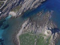 Aerial view, the beach in Sardinia, crystal clear water, Italy. Aerial view, the beach in Sardinia, crystal clear water, Stintino, La Pelosa, Italy Stock Photo